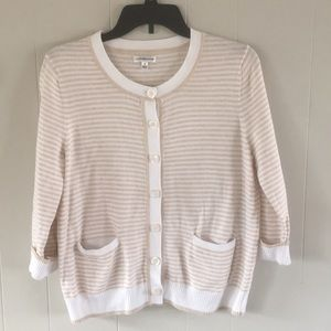 4/$25 White and tan striped cardigan